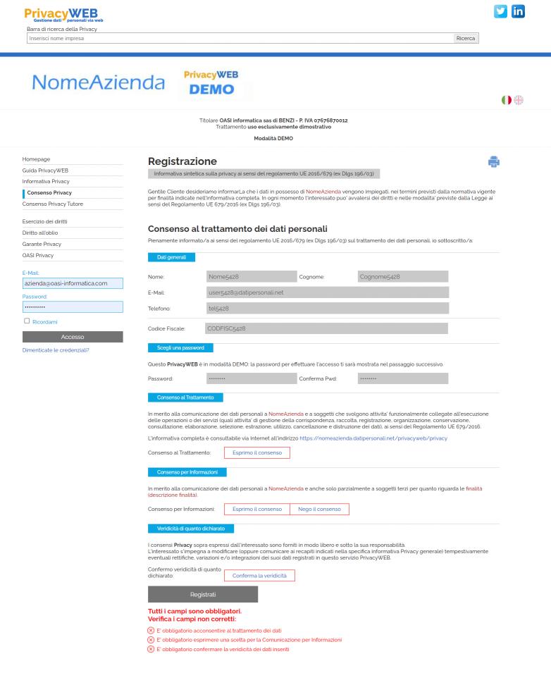 mostra pagina Consenso Privacy in compilazione